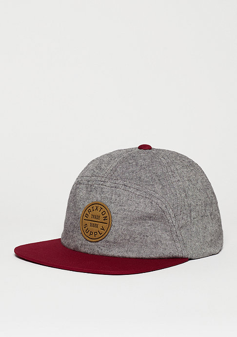 Brixton Strapback-Cap Oath 7 Panel Cap heather grey/burgundy