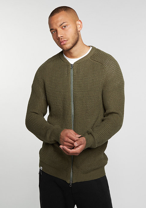 Reell Sweatshirt Knitted Zip olive