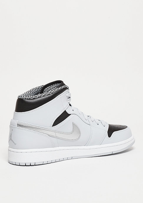 JORDAN Air Jordan 1 Mid pure platinum/white/metallic silver
