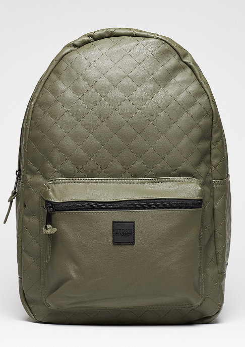 Urban Classics Rucksack Diamond Quilt Leather Imitation olive