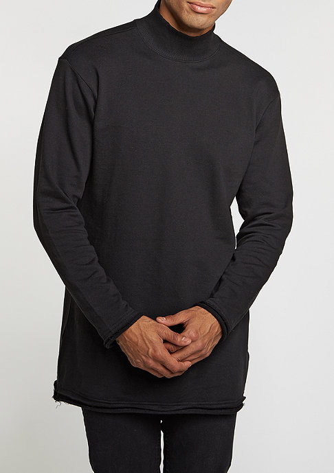 Urban Classics Sweatshirt Long Open Edge Turtleneck black