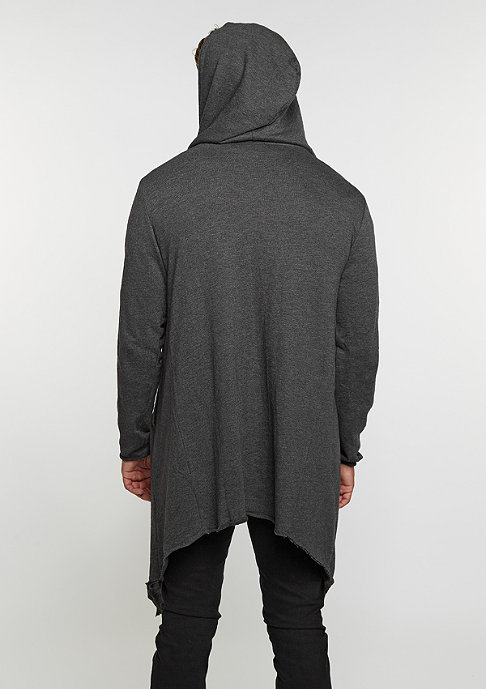 Urban Classics Strickpullover Long Hooded Open Edge Cardigan charcoal