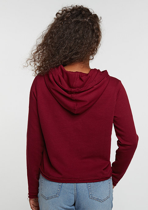 Urban Classics Hooded-Sweatshirt Cropped Terry burgundy
