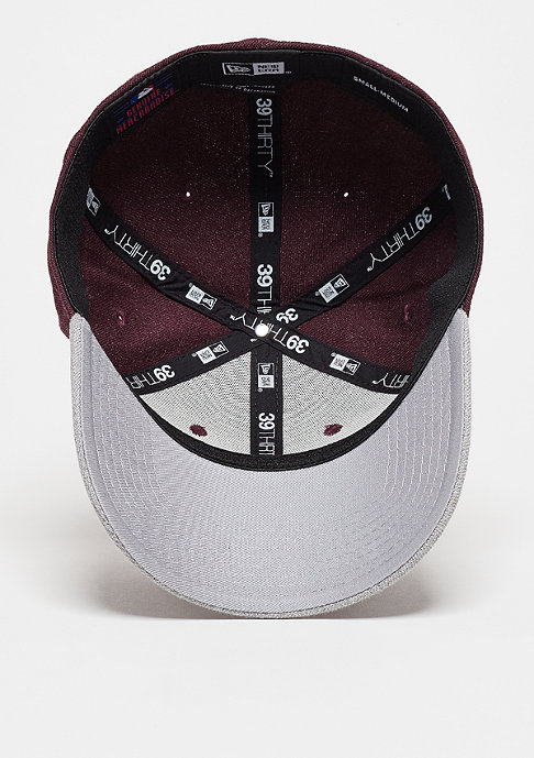 New Era Baseball-Cap Heather Visor 39Thirty MLB New York Yankees maroon/grey