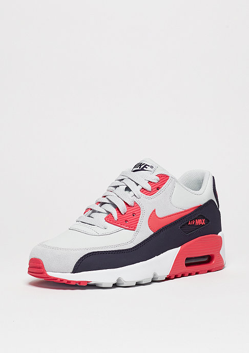 NIKE Schuh Air Max 90 Leather (GS) pure platinum/ember glow/purple