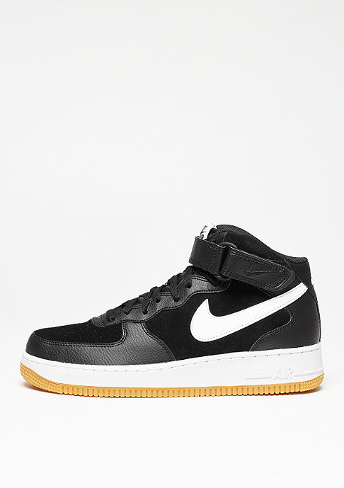 NIKE Schuh Air Force 1 Mid 07 black/white/gum med brown