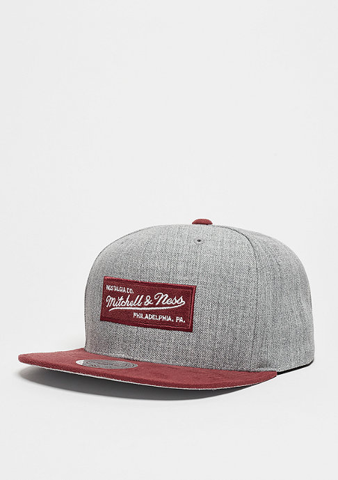 Mitchell & Ness Snapback-Cap Heather Micro grey heather/burgundy