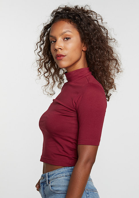 Urban Classics T-Shirt Cropped Turtleneck burgundy
