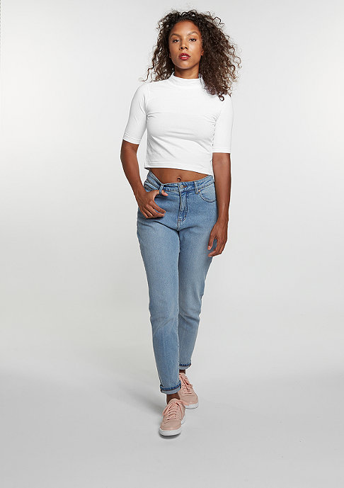 Urban Classics T-Shirt Cropped Turtleneck white