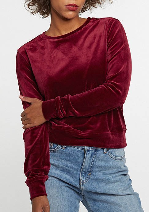 Urban Classics Sweatshirt Short Velvet burgundy