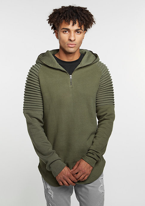 Urban Classics Hooded-Sweatshirt Pleat Sleeves Terry olive