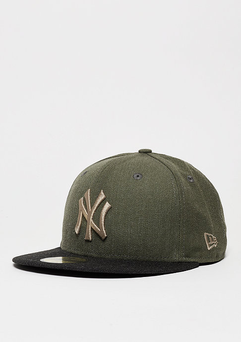 New Era Fitted-Cap Heather Contrast MLB New York Yankees rifle green