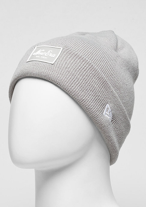 New Era Beanie Rubber Patch Cuff grey