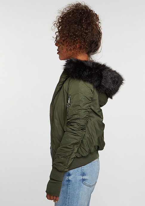 Sixth June Bomber Fake Fur khaki/black