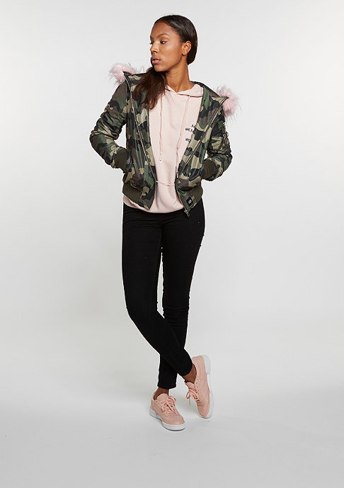 Sixth June Bomber Fake Fur green camo/baby