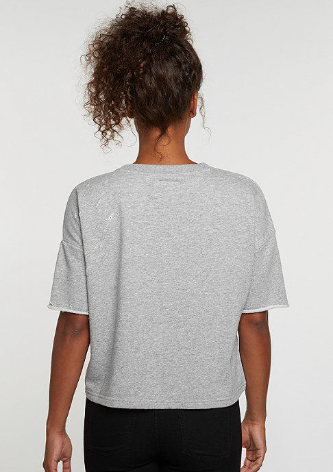 Sixth June T-Shirt Destroyed Crop Top grey