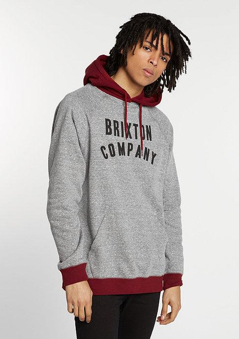 Brixton Hooded-Sweatshirt Barstow heather grey/burgundy