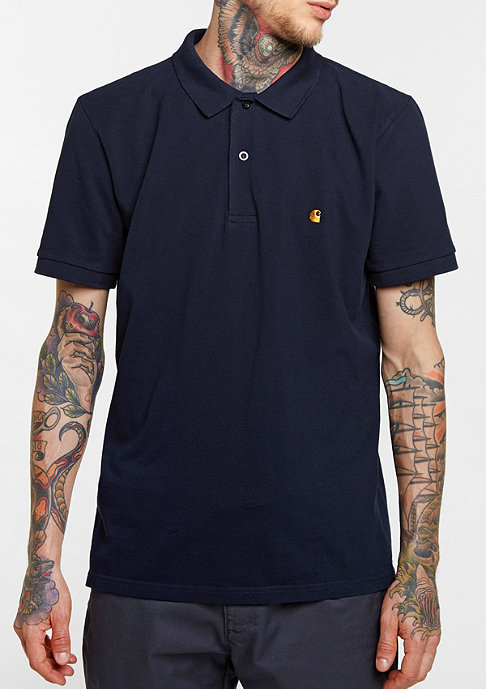 Carhartt WIP Polo Slim Fit navy/gold