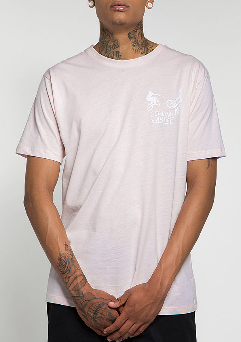 Criminal Damage T-Shirt 360 pink/white