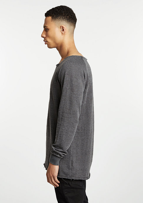 Urban Classics Sweatshirt Long Burnout Open Edge dark grey