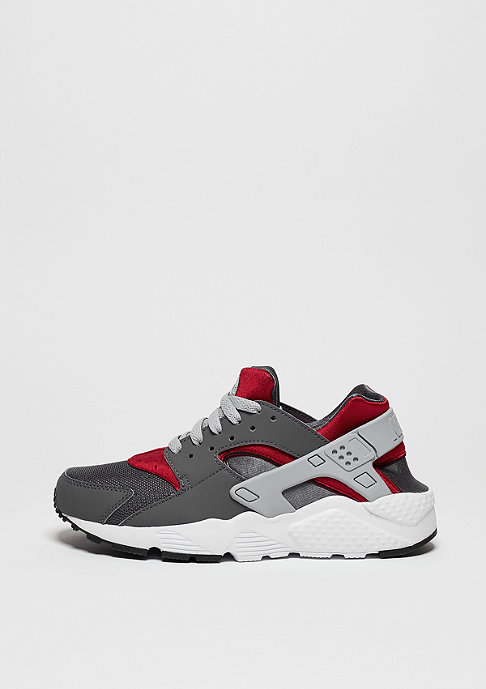 NIKE Laufschuh Air Huarache Run dark grey/wlf grey/gym red