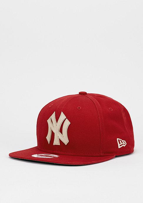 New Era Snapback-Cap Vintage Wash MLB New York Yankees scarlet/optic white