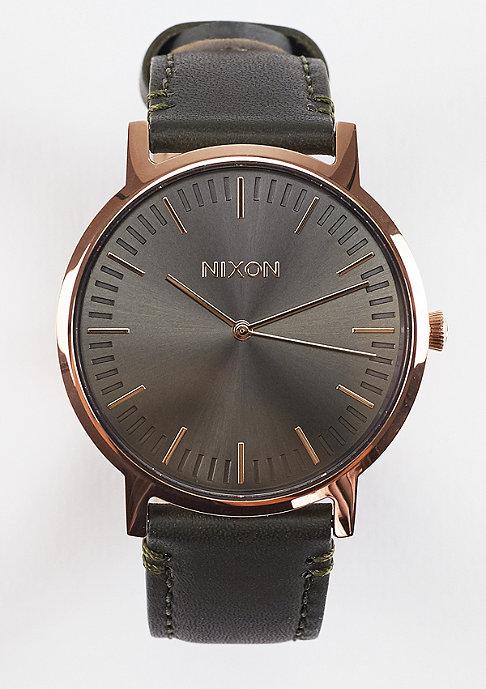 Nixon Uhr Porter Leather rose gold/gunmetal/surplus