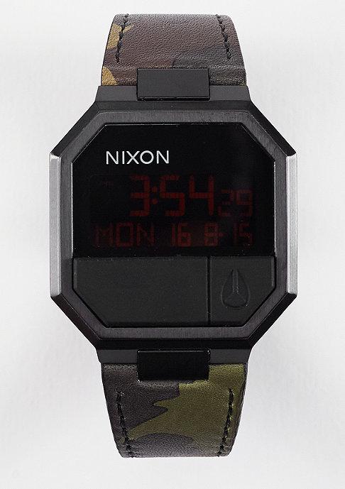 Nixon Uhr Re-Run Leather all black/camo