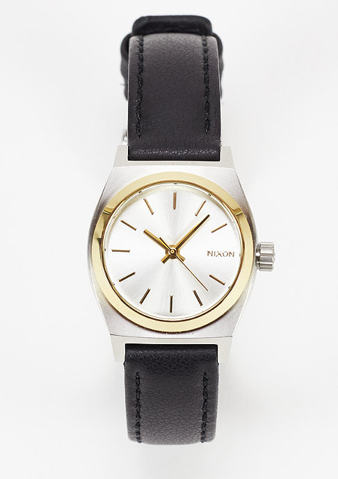 Nixon Uhr Small Time Teller Leather silver/gold/black