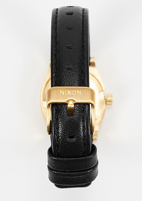 Nixon Uhr Small Time Teller Leather black/gold