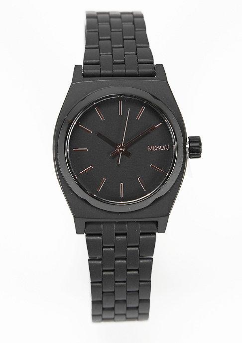 Nixon Uhr Small Time Teller all black/rose gold