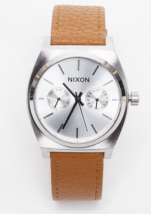 Nixon Uhr Time Teller Deluxe Leather silver sunray/saddle
