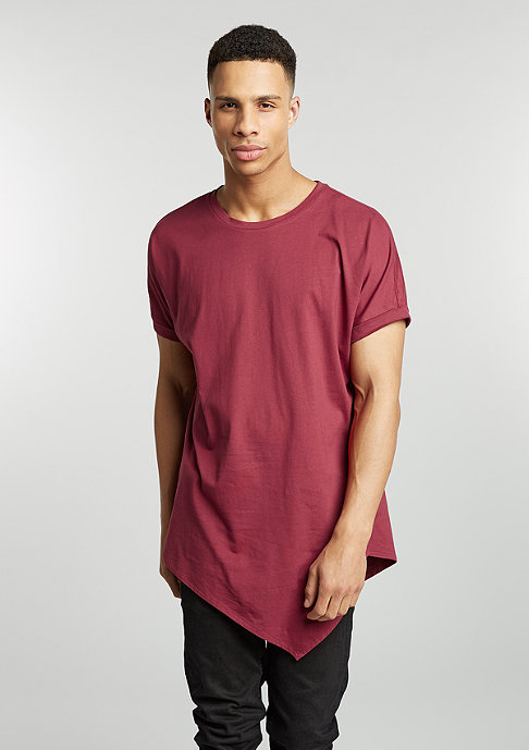 Urban Classics T-Shirt Asymetric Long burgundy