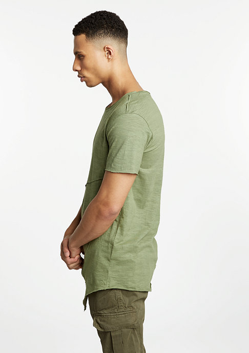 Urban Classics T-Shirt Long Open Front Zip light olive