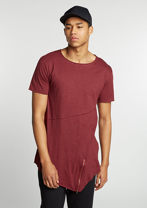 Urban Classics T-Shirt Long Open Front Zip burgundy