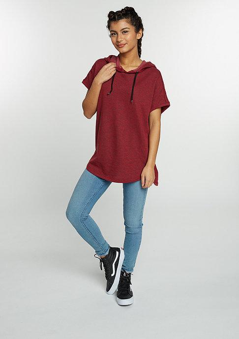Urban Classics Hooded-Sweatshirt Melange Sleeveless Terry burgundy