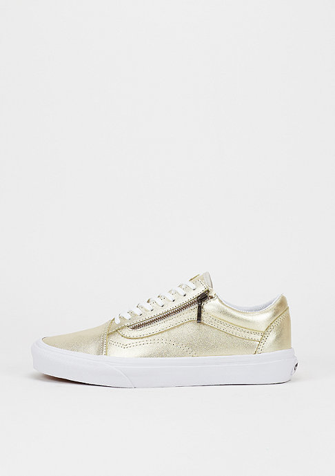 VANS Skateschuh Old Skool Zip Metallic Leather wheat gold/true white