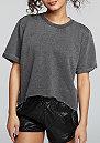 T-Shirt Cropped Burnout dark grey