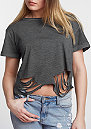 T-Shirt Cutted Cropped dark grey