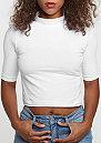 T-Shirt Cropped Turtleneck white