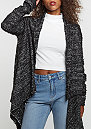 Knit Feather Cardigan black/white