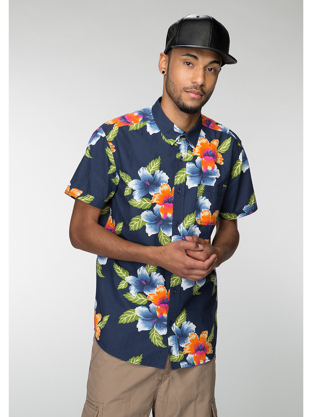 Future Past Hemd Hawaii navy/multi floral blau S