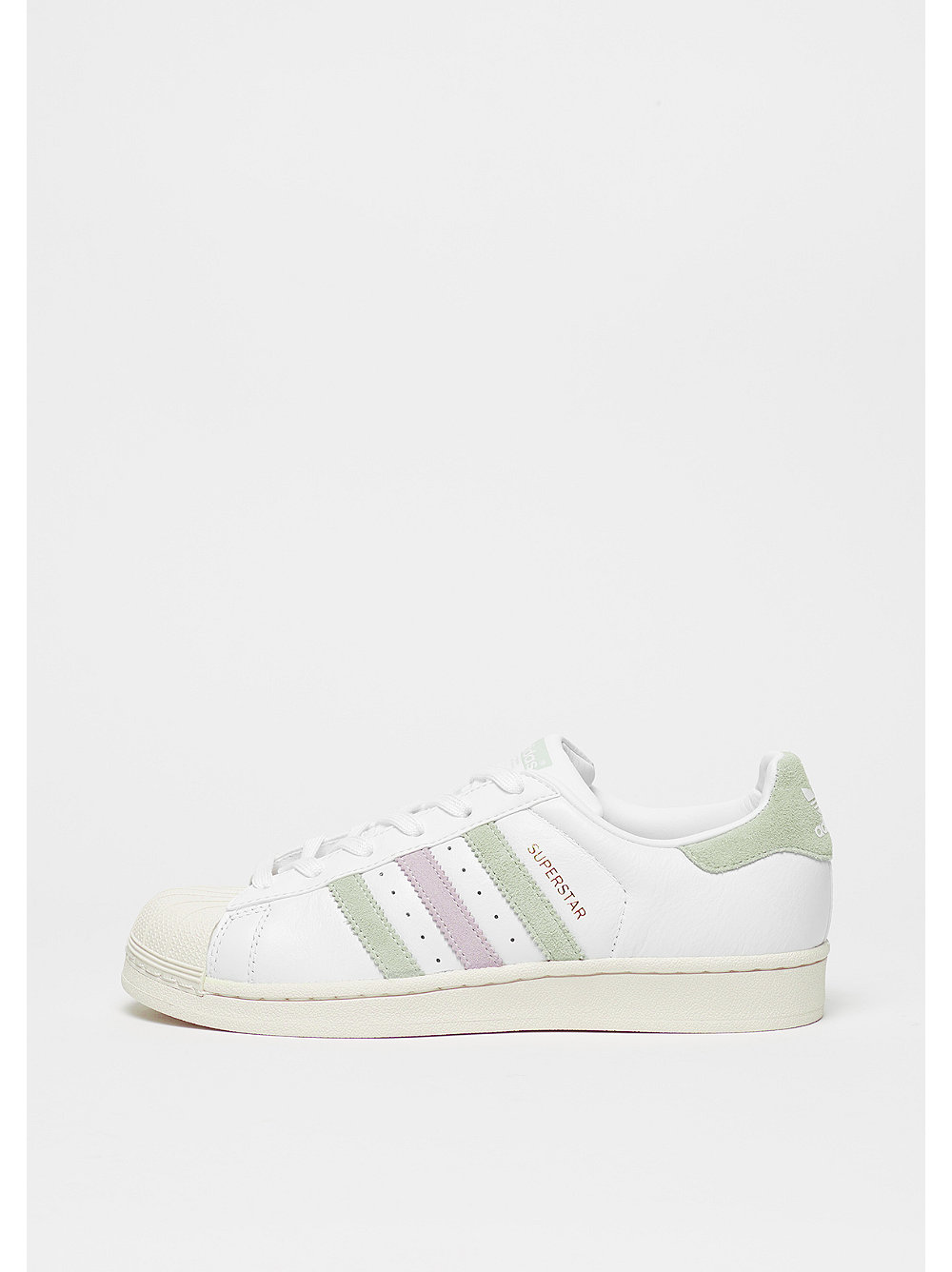 adidas Superstar white-linen green-ice purple