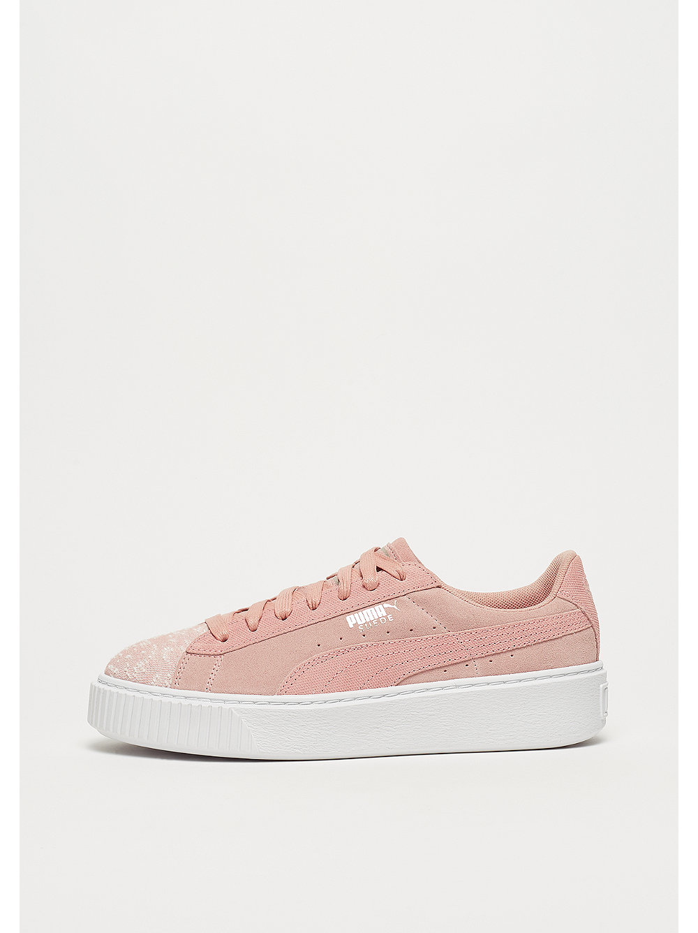 Suede Platform Pebble peach beige-white