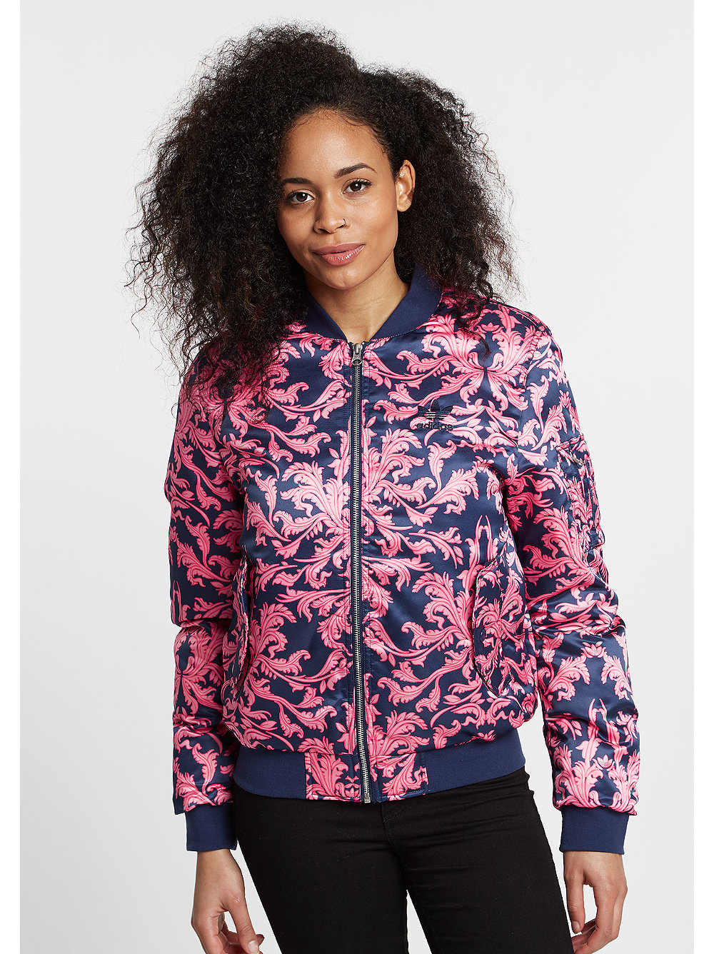 adidas Jacke AOP Satin Bomber dark blue/pink rosa XS,S,M