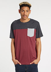 T-Shirt 3-Tone Pocket burgundy/charcoal/grey