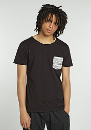 T-Shirt Contrast Pocket black/aztec