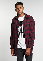 Hemd Long Checked Flanell black/burgundy