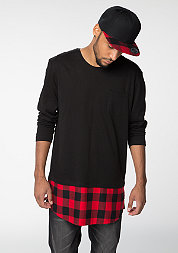 Longsleeve Long Shaped Flanell Bottom black/red