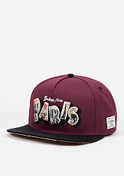 Snapback-Cap WL Greetings From Paris maroon/black
